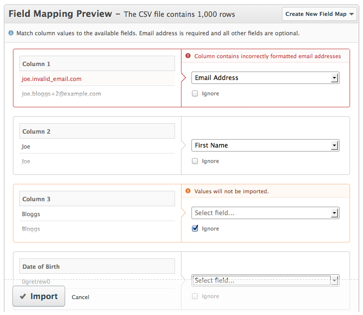New List Import preview feature and Salesforce & Highrise