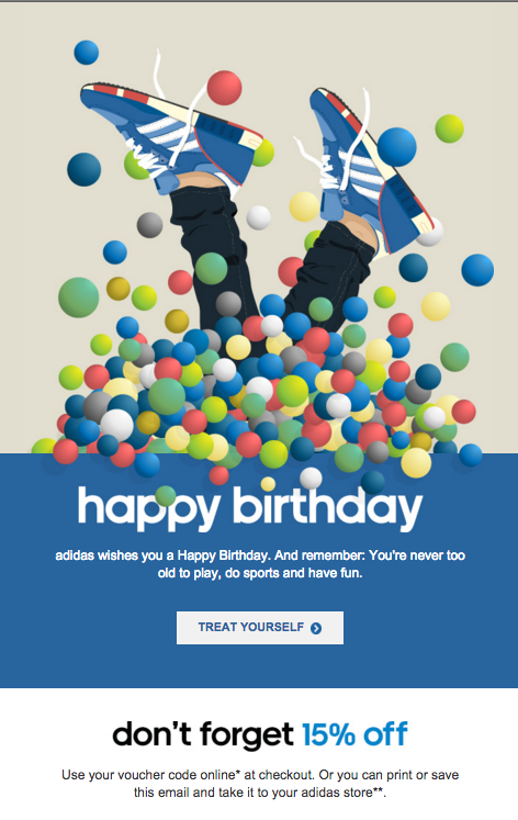 Adidas Happy Birthday Email