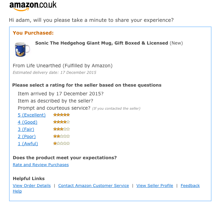 Email workflows - Amazon review