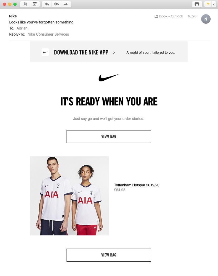 Nike - Basket Abandonment Email
