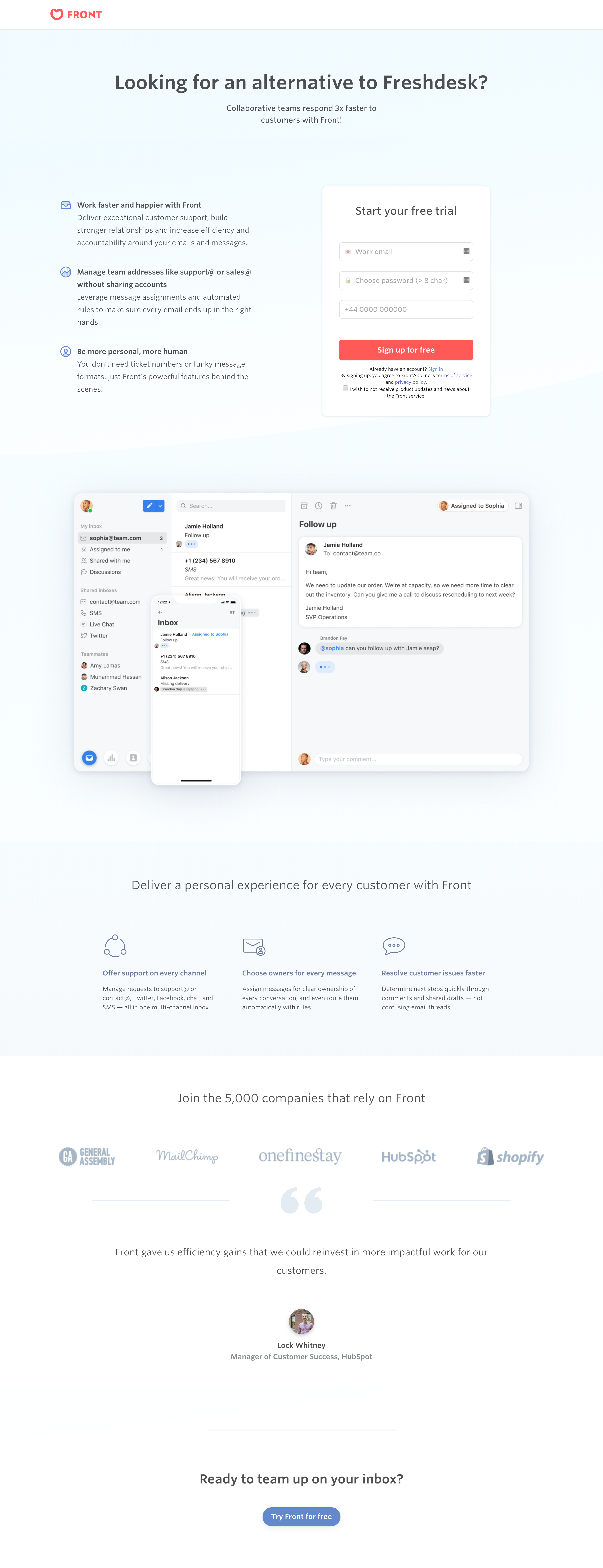 FrontApp - Landing Page